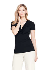 Women's Short Sleeve V-Neck Twist Knot Top