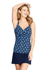 Women's Chlorine Resistant Wrap Underwire Tankini Top Swimsuit Print