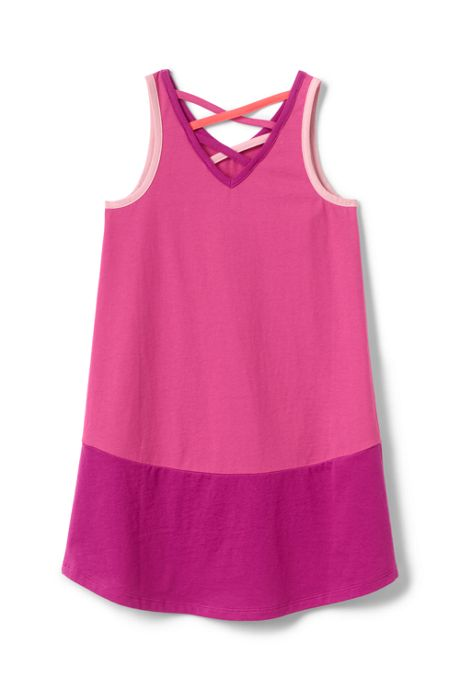 Girls Lattice Back Tank Dress