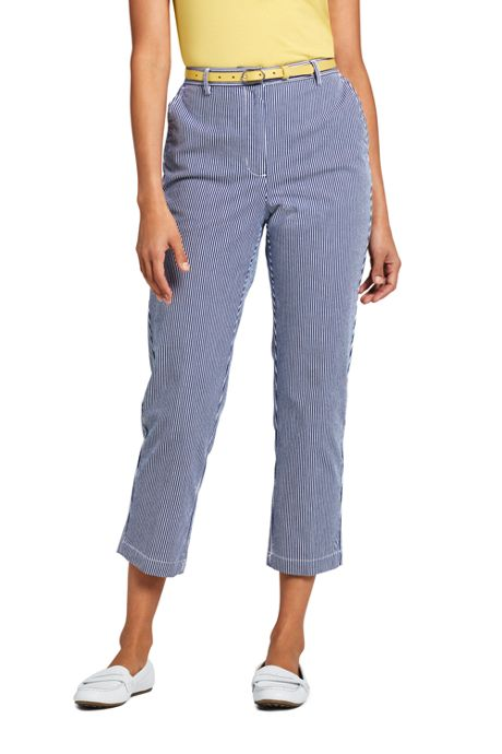 Women's Petite 7 Day Elastic Back Capri Pants - Stripe