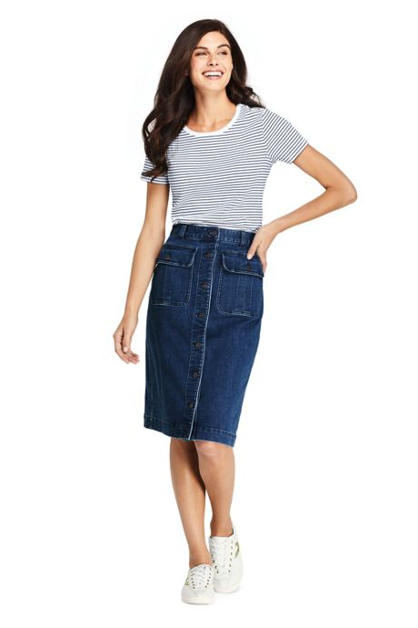 Women's Petite Button Front Denim Skirt