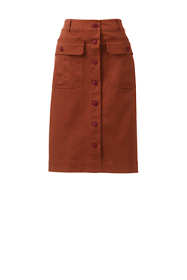Women's Plus Size Button Front Chino Skirt