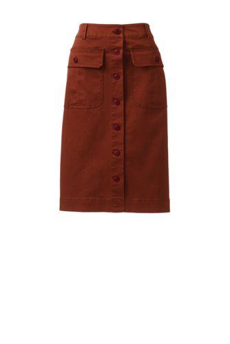 Jupe Boutonnée en Coton Stretch, Femme Stature Standard