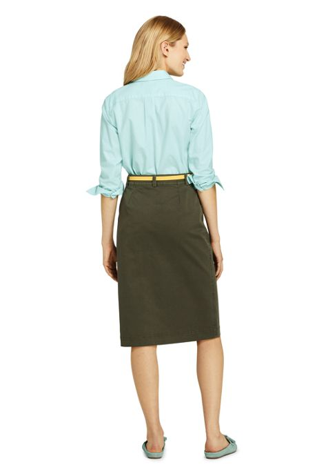 Women's Petite Button Front Chino Skirt