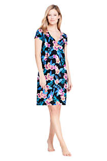 Women's V-Neck Short Sleeve with UV Protection Swim Cover-up Dress Print, Front