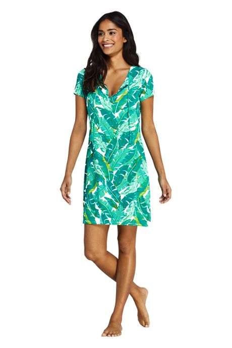 Women's V-Neck Short Sleeve with UV Protection Swim Cover-up Dress Print