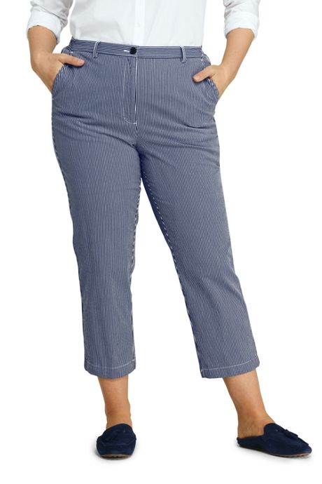 Women's Plus Size 7 Day Elastic Back Capri Pants - Stripe