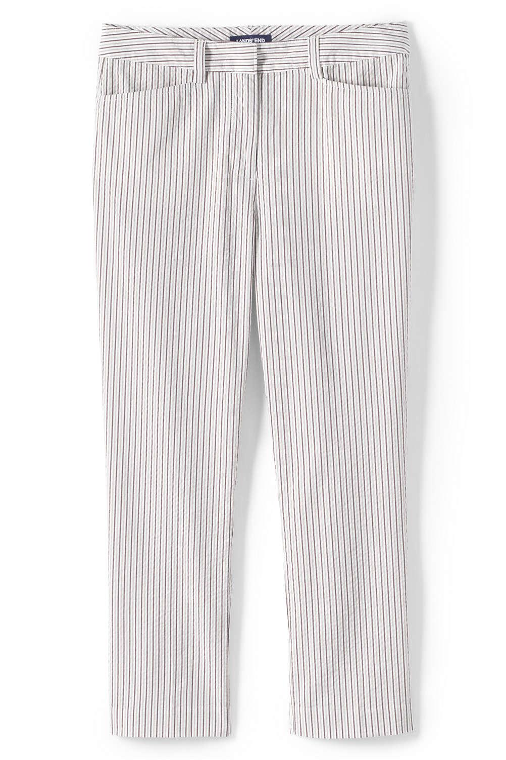 dbda337baa0 Women s Plus Size Mid Rise Seersucker Capri Pants from Lands  End