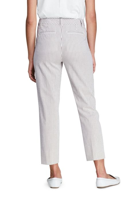 Women's Tall Mid Rise Seersucker Capri Pants