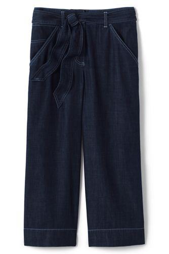 Pantacourt Large Indigo Coton Lyocell, Femme Stature Standard