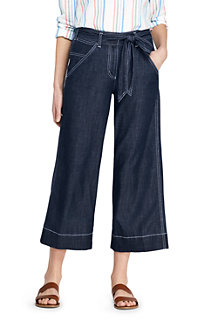 Women's Tie Waist Cropped Soft Trousers
