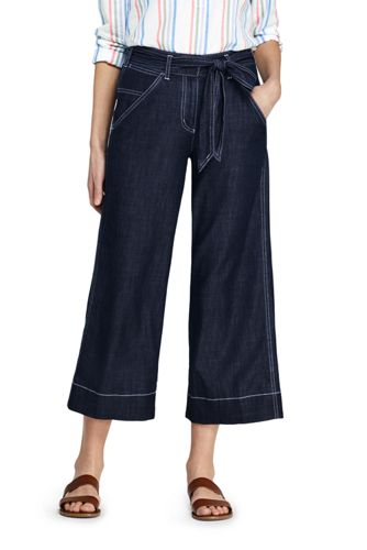 Women's Tie Waist Cropped Soft Trousers