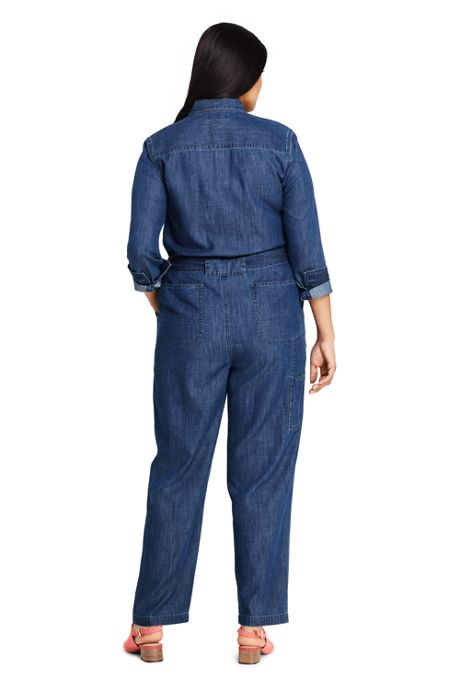 Women's Plus Size Lightweight Denim Jumpsuit