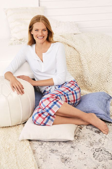 Women's Crop Cotton Sleep Pants