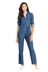 Women's Petite Lightweight Denim Jumpsuit