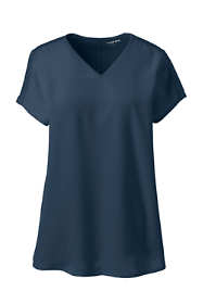 Women's Plus Size Cap Sleeve Mixed Media V-neck Top