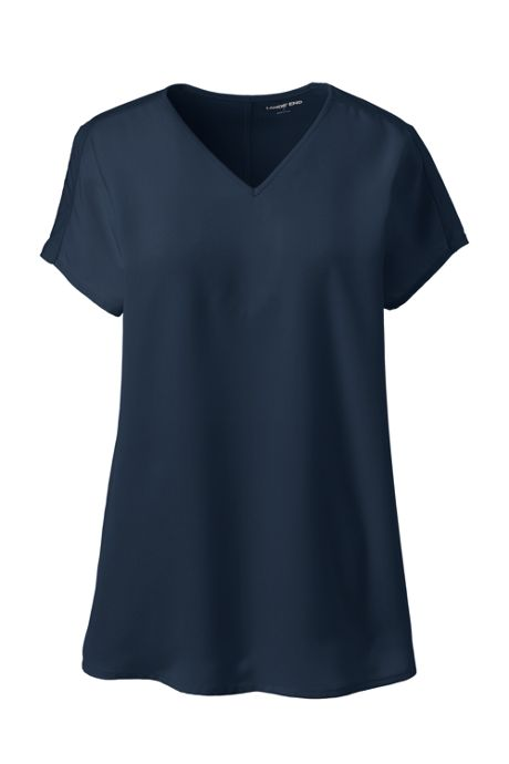 Women's Petite Cap Sleeve Mixed Media V-neck Top