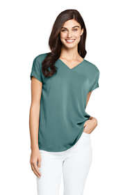 Women's Cap Sleeve Mixed Media V-neck Top