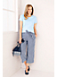Women's High Waisted Striped Soft Cropped Trousers
