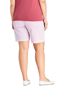 "Women's Plus Size 10"" Mid Rise Chino Seersucker Shorts, Back"
