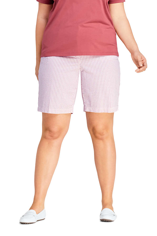 "Women's Plus Size 10"" Mid Rise Chino Seersucker Shorts, Front"