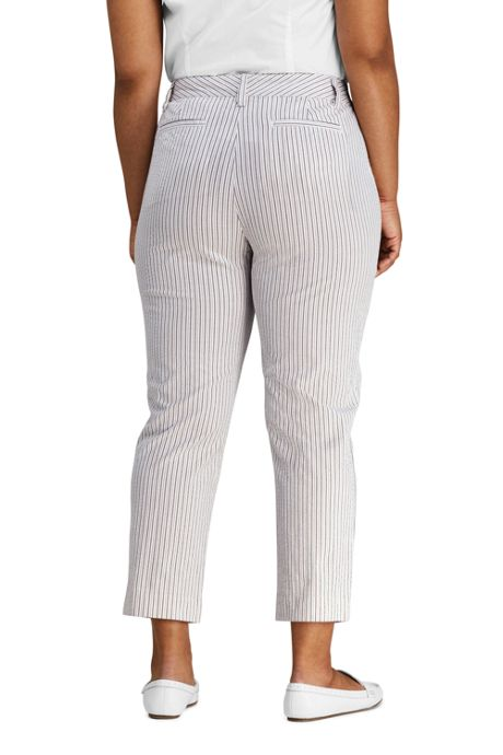 Women's Plus Size Mid Rise Seersucker Capri Pants