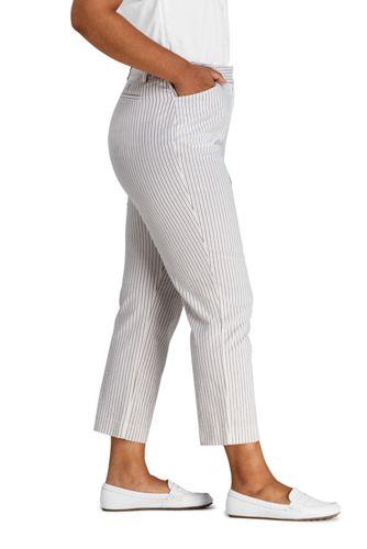 Women S Plus Size Mid Rise Seersucker Capri Pants Capris Crops