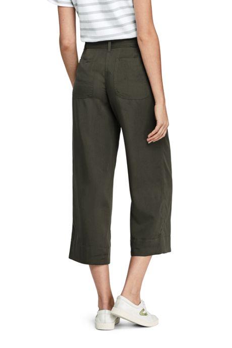 Women's Petite Tie Waist Capri Pants