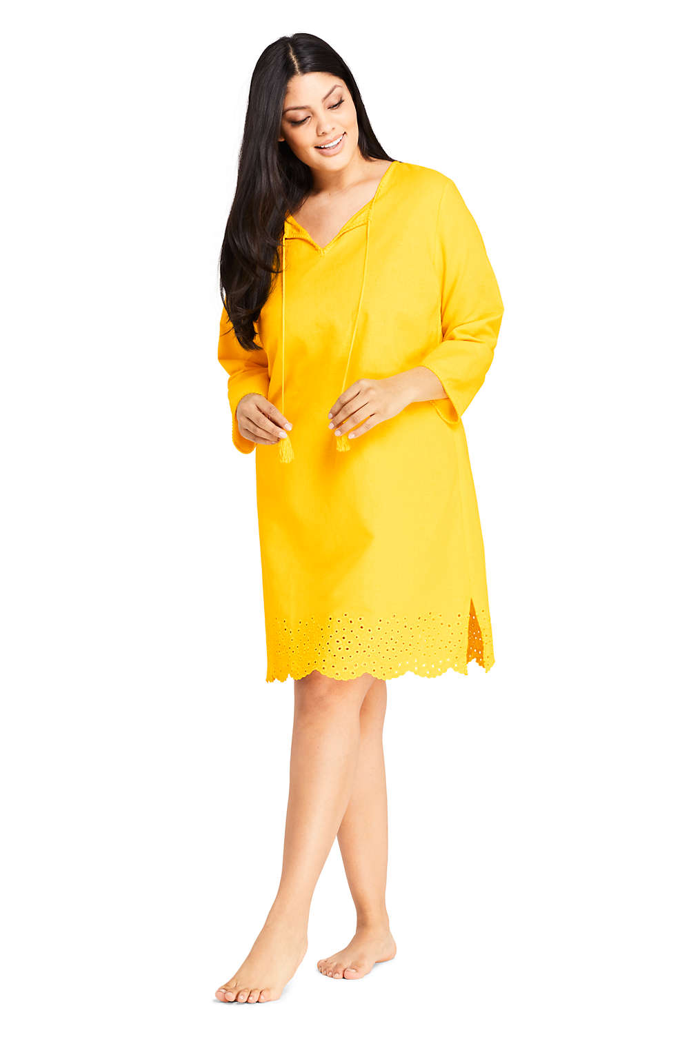 2f3d206e89 Women's Plus Size Linen Eyelet Tunic Swim Cover-up from Lands' End
