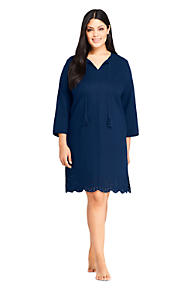 771b747aaccf9 Women s Plus Size Linen Eyelet Tunic Swim Cover-up