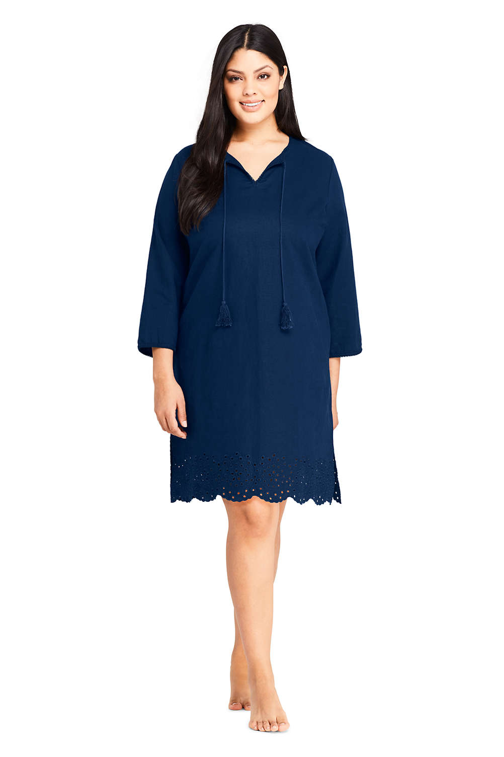 56e67775a5a Women s Plus Size Linen Eyelet Tunic Swim Cover-up from Lands  End