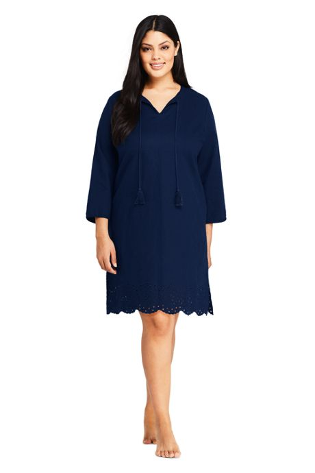 Women's Plus Size Linen Eyelet Tunic Swim Cover-up