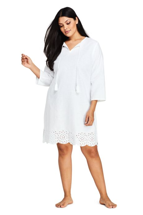 4fa84ffad6 Women's Plus Size Linen Eyelet Tunic Swim Cover-up, Swimsuit ...