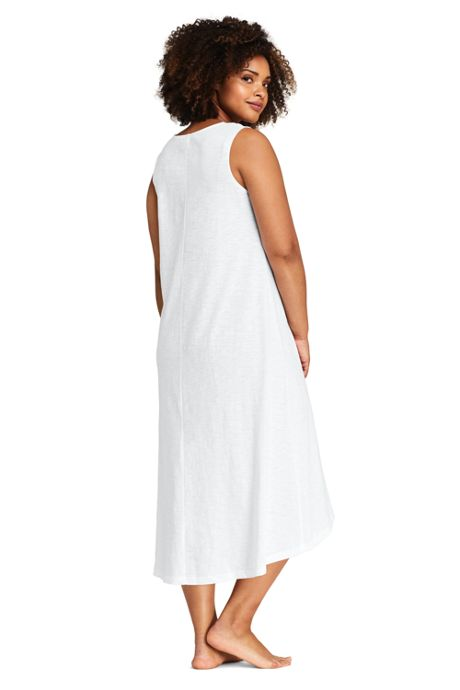 Women's Plus Size Slub Jersey Embellished High Low Hem Swim Cover-up Dress