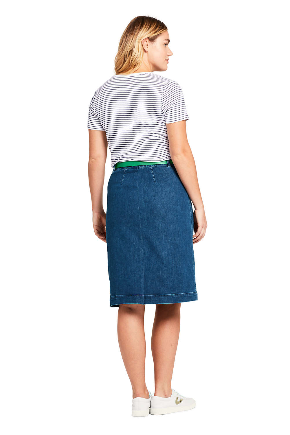 11e05e2db7517 Women s Plus Size Button Front Denim Skirt from Lands  End