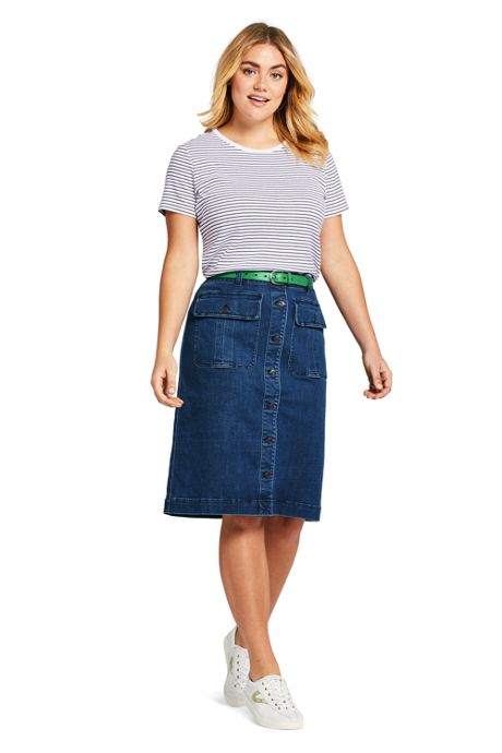 Women's Plus Size Button Front Denim Skirt
