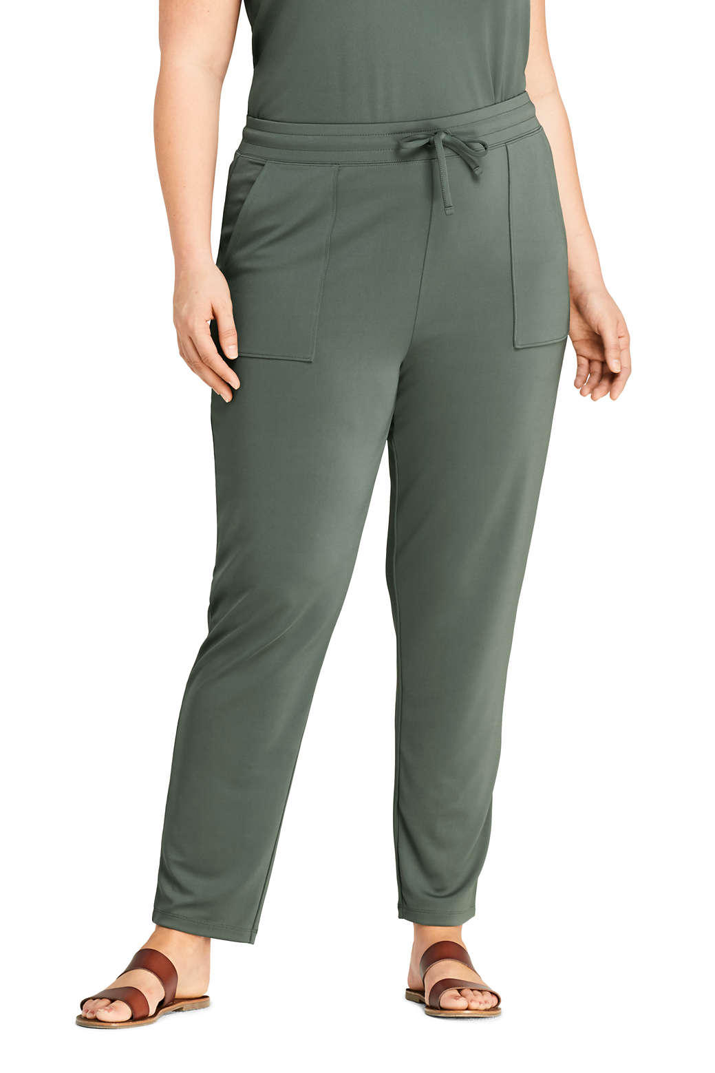 4d9af70846 Women s Plus Size Matte Jersey Drawstring Jogger Pants from Lands  End