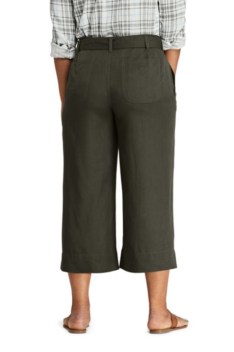 Women's Plus Size Tie Waist Capri Pants