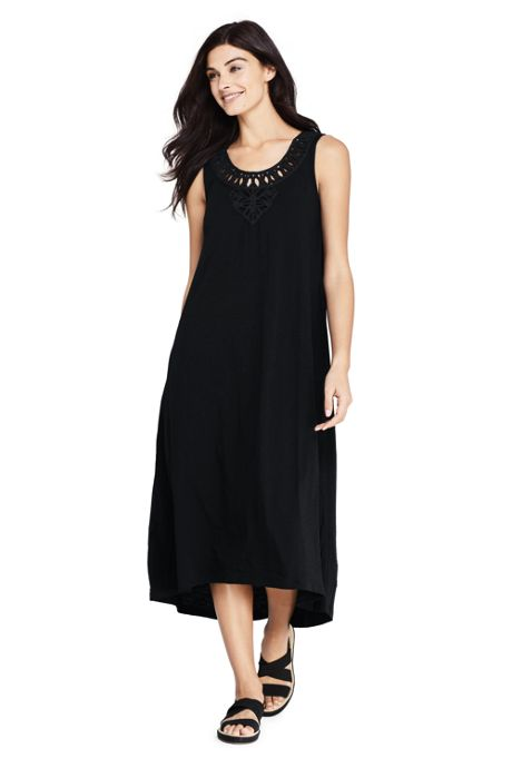 Women's Slub Jersey Embellished High Low Hem Swim Cover-up Dress