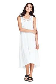 Women's Slub Jersey Embellished High Low Hem Swim Cover-up Dress