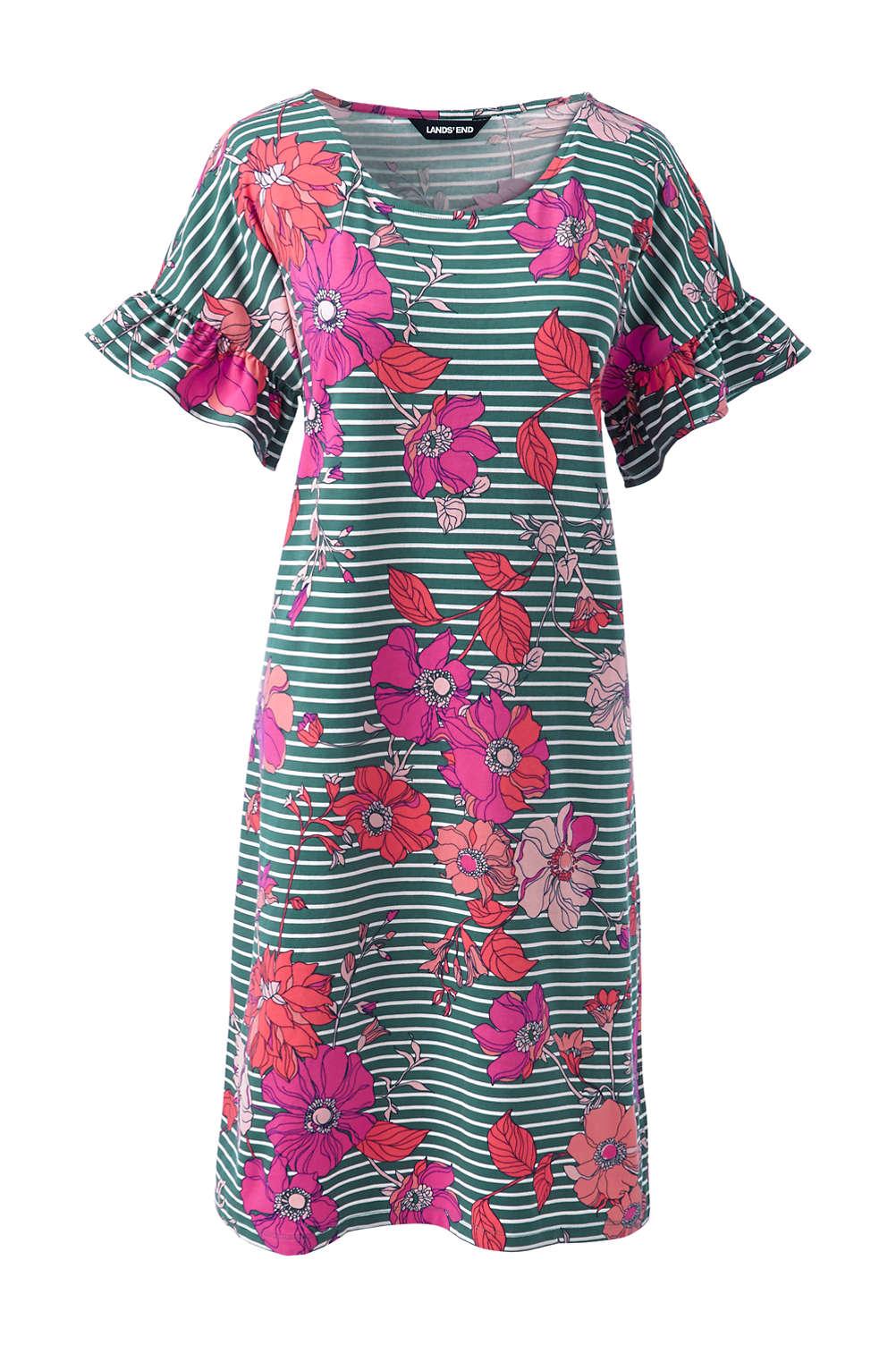 00256b3bf67 Women s Plus Size Short Sleeve Ruffle Knit Print Tee Shirt Dress ...