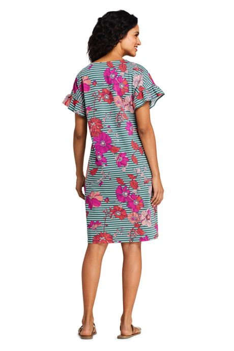 Women's Short Sleeve Ruffle Knit Print Tee Shirt Dress