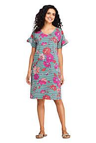 f0566e0e2f Women s Short Sleeve Ruffle Knit Print Tee Shirt Dress