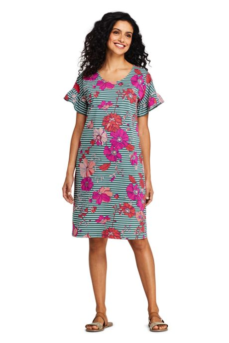 Women's Petite Short Sleeve Ruffle Knit Print Tee Shirt Dress