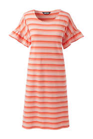 Women's Petite Short Sleeve Ruffle Knit Stripe Tee Shirt Dress