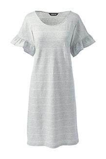 Women's Fluted Sleeve Striped T-shirt Dress