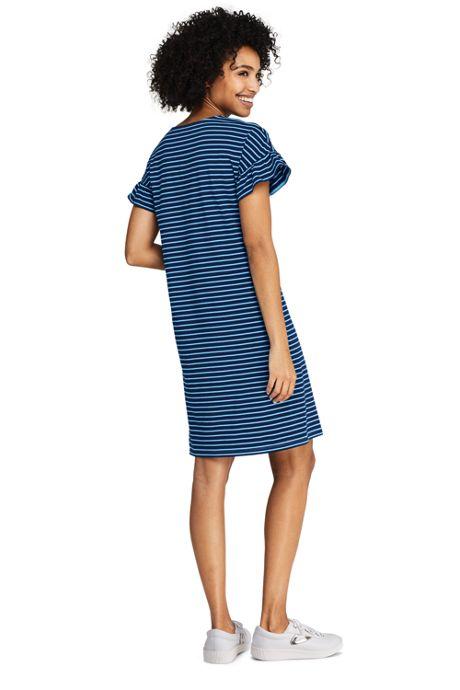 Women's Short Sleeve Ruffle Knit Stripe Tee Shirt Dress