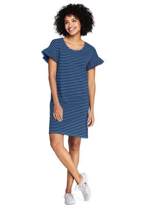 Women's Petite Short Sleeve Ruffle Knit Stripe Tee Shirt Dress