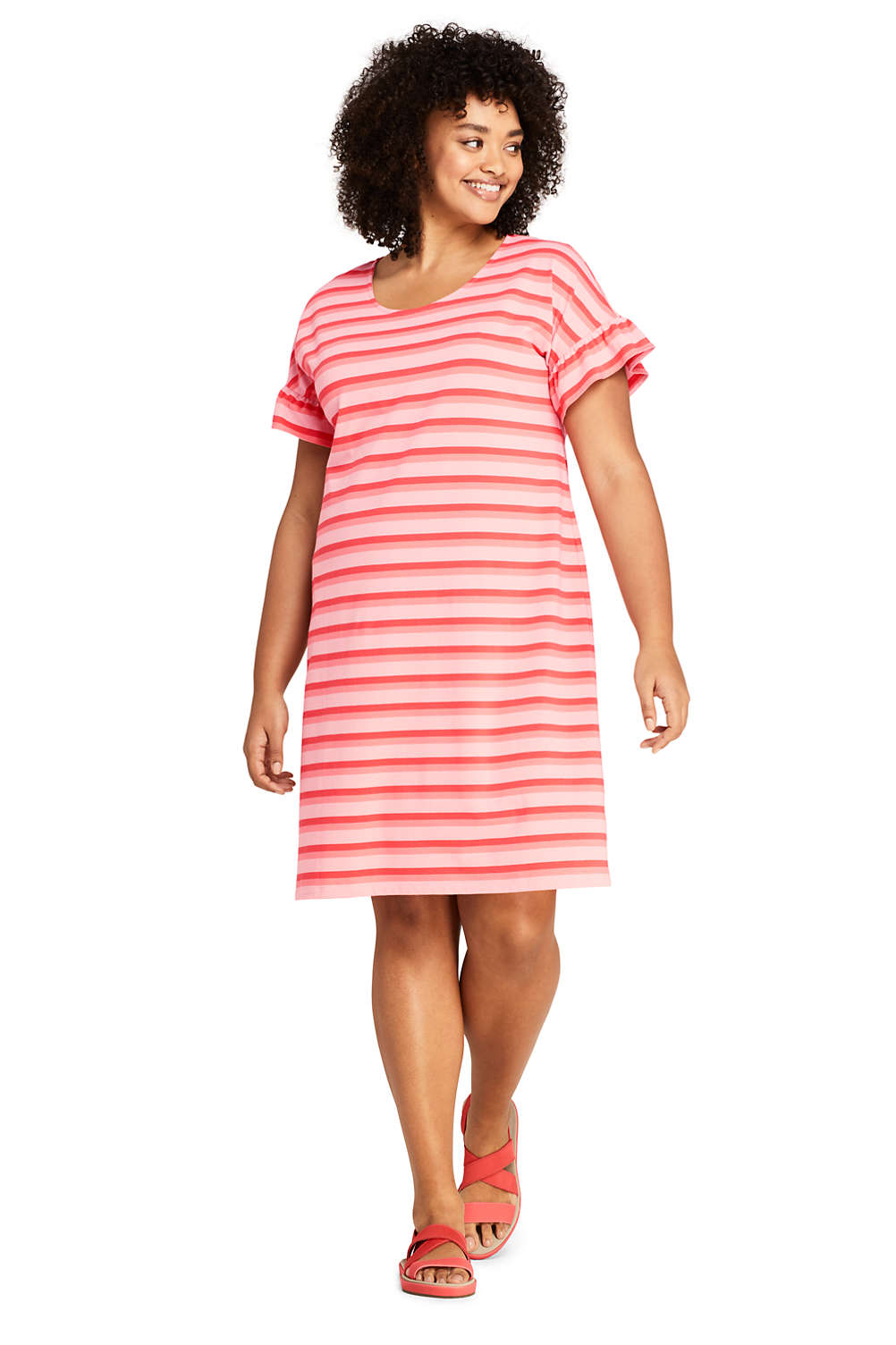 Women\'s Plus Size Short Sleeve Ruffle Knit Stripe Tee Shirt Dress