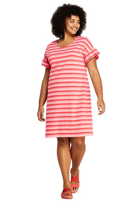 Women's Plus Size Short Sleeve Ruffle Knit Stripe Tee Shirt Dress